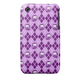 Cute Purple Owl Argyle Pattern iPhone Case iPhone 3 Cases