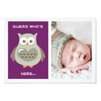 CUTE PURPLE OWL BABY ANNOUNCEMENT PHOTO CARD