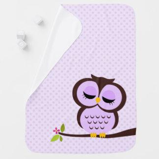 Cute Purple Owl Baby Blanket