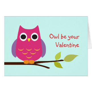 Cute purple owl be your valentine adorable greeting card