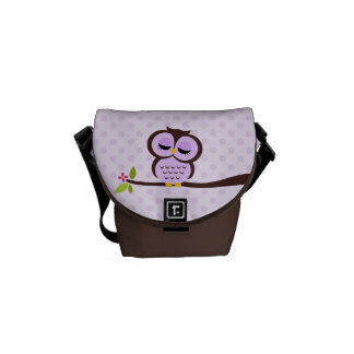 Cute Purple Owl Courier Bag