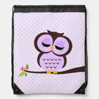 Cute Purple Owl Drawstring Bag