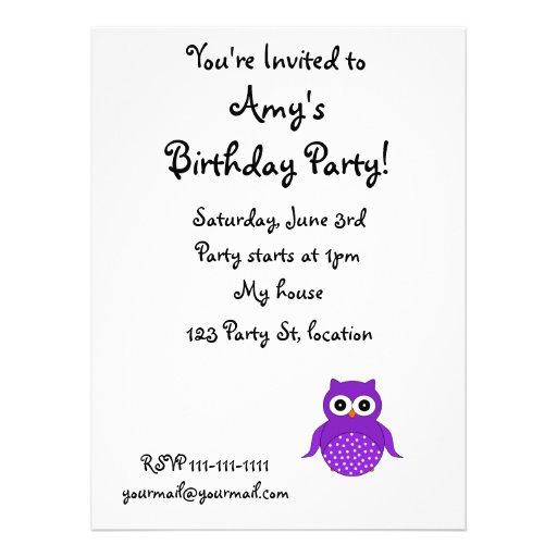Cute purple owl announcements