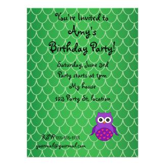 Cute purple owl invite
