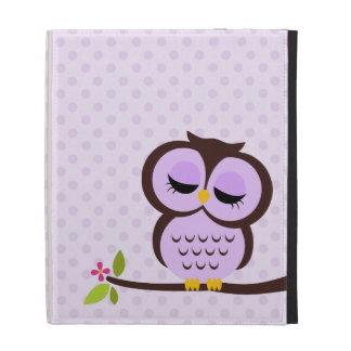 Cute Purple Owl iPad Folio Covers