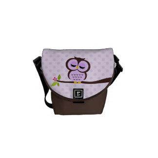 Cute Purple Owl Messenger Bag