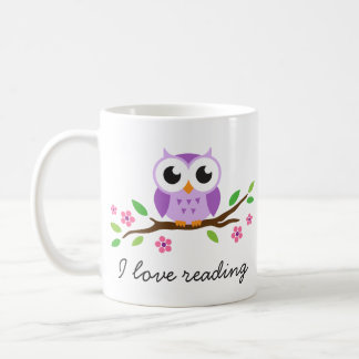 Cute purple owl on floral branch I love reading Basic White Mug