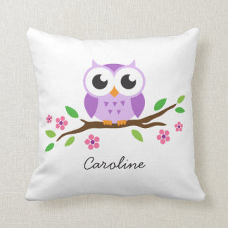 Cute purple owl on floral branch personalized name cushion