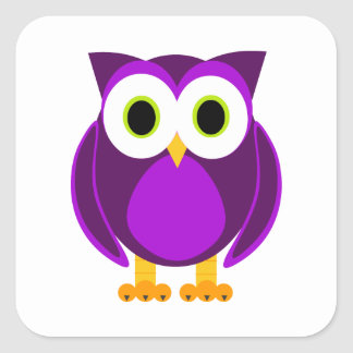 Cute Purple Owl Square Sticker