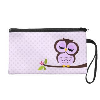 Cute Purple Owl Wristlet Purse