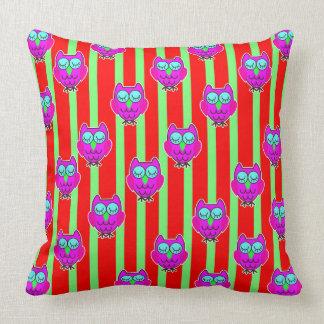 Cute purple  owls seamless pattern cushion