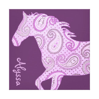 Cute Purple Paisley Horse Stretched Canvas Prints