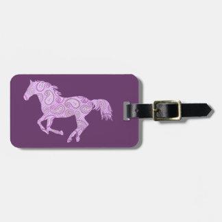 Cute Purple Paisley Horse Luggage Tag
