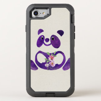 Cute  Purple Panda Bear with flowers OtterBox Defender iPhone 8/7 Case