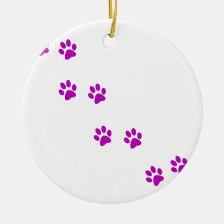 cute purple pawprints christmas ornament