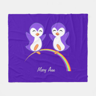 Cute Purple Penguin Fleece Blanket