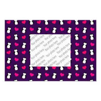 Cute purple penguin hearts pattern photo art