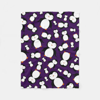 Cute purple penguin pattern fleece blanket