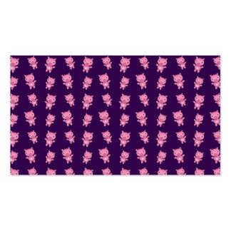 Cute purple pig pattern business card template