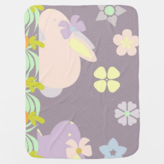 cute purple & pink bunnies ,ribbons Baby Blanket