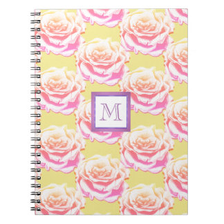 Cute Purple & Pink Candy Roses Monogram Notebook