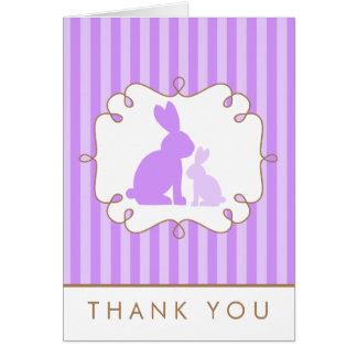 Cute Purple Rabbits Baby Shower Thank You Note Card