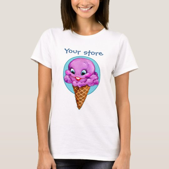 Cute purple raspberry ice cream cone with big eyes T-Shirt