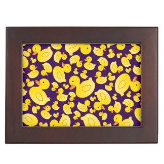 Cute purple rubber ducks keepsake box