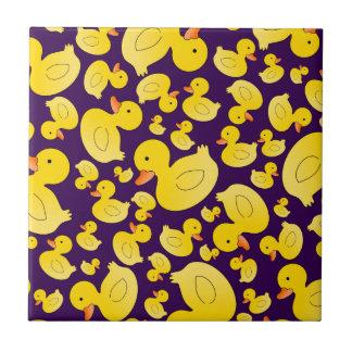 Cute purple rubber ducks small square tile