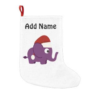 Cute Purple Santa Elephant