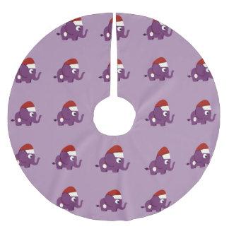 Cute Purple Santa Elephant Brushed Polyester Tree Skirt