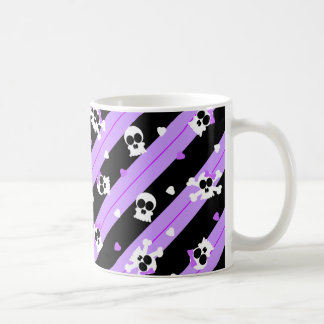 Cute Purple Skull and Heart Print Classic White Coffee Mug
