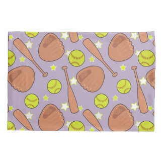 Cute Purple Softball Star Pattern Pillowcase