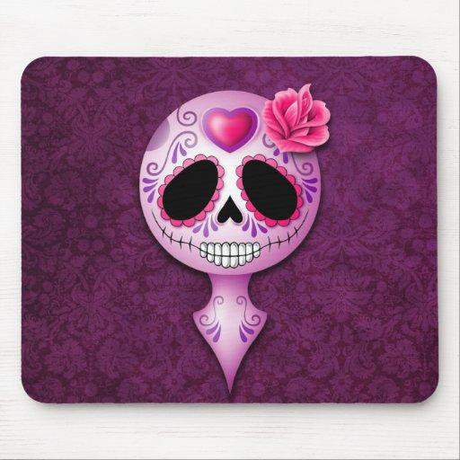 Cute Purple Sugar Skull Mouse Pad