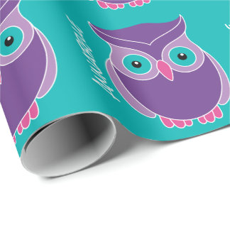 Cute Purple Teal Adorable Owl Personalized Girls Wrapping Paper