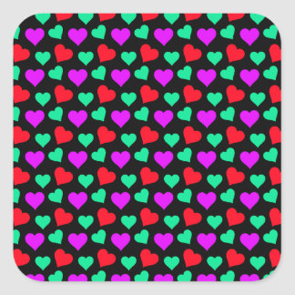 Cute Purple Teal Little Red Hearts on Black Square Sticker