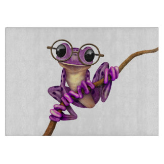 Cute Purple Tree Frog with Eye Glasses on White Cutting Board