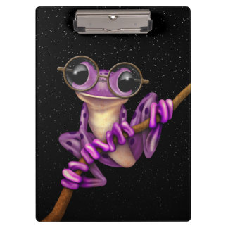Cute Purple Tree Frog with Eye Glasses with Stars Clipboard