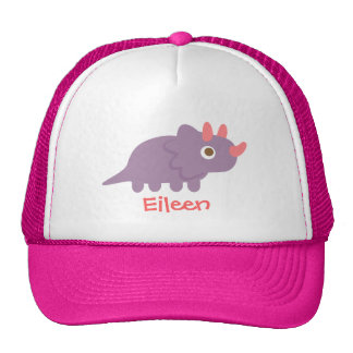 Cute purple triceratops dinosaur for kids trucker hat