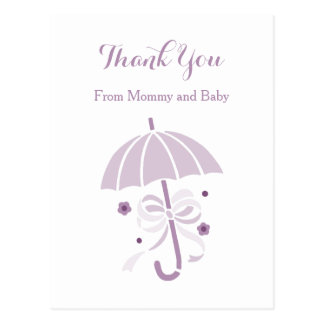 Cute Purple Umbrella and Bow Baby Shower Thank You Postcard