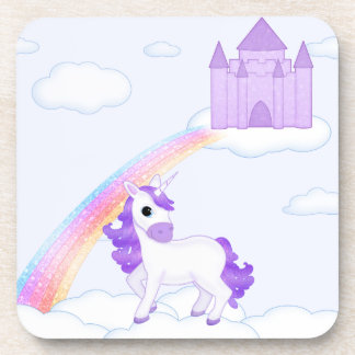 Cute Purple Unicorn with Castle Cartoon Coasters