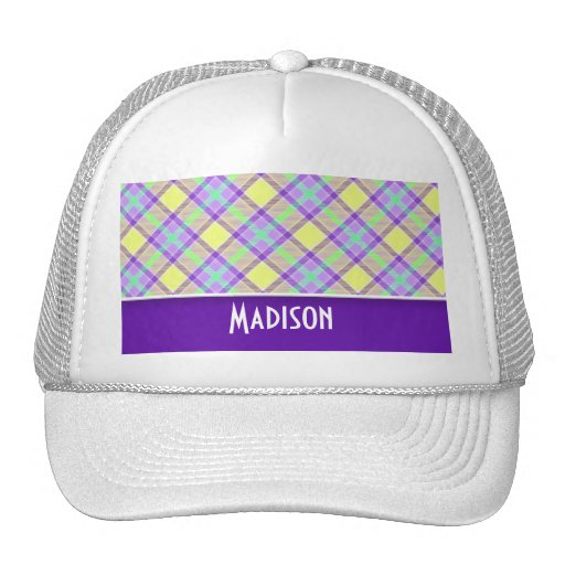 Cute Purple & Yellow Plaid Hat
