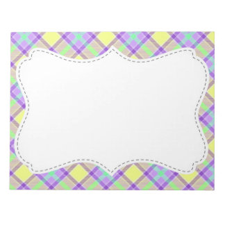 Cute Purple & Yellow Plaid Notepad