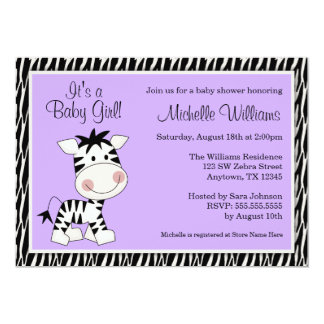 Cute Purple Zebra Girl Baby Shower 13 Cm X 18 Cm Invitation Card