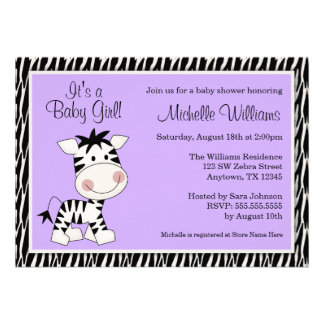 Cute Purple Zebra Girl Baby Shower Custom Invite