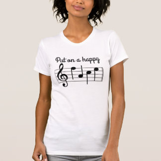Cute Put on a Happy Face Music Notes T-Shirt
