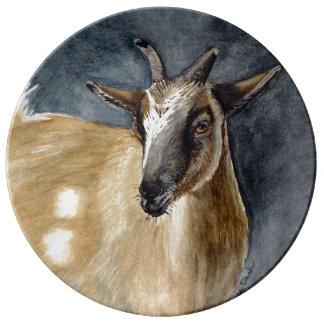 Cute Pygmy Goat Watercolor Artwork Porcelain Plates
