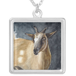 Cute Pygmy Goat Watercolor Artwork Silver Plated Necklace