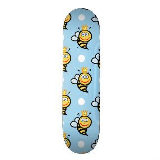 Cute Queen Bee, Baby Blue & White Polka Dots Skate Board Decks