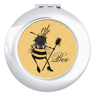 CUTE QUEEN BEE HONEYCOMB ROUND COMPACT MIRROR